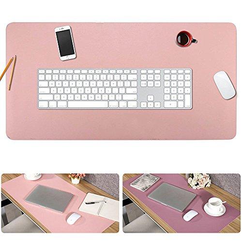 デスクマット 大型 マウスパッド オフィスデスクパッド PU レザー パソコン デスクマット 多機能 防水 耐油 大きいマウスパッド パソコンデスクパッド 80cm*40cm (ピンク+パープル)