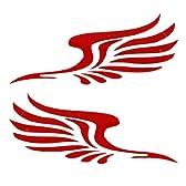 オート飾るため2PCS 15.5センチメートルxの5cmの粘着バック赤い羽根形状デカール
