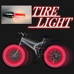 自転車 タイヤ ライト 赤 2個組1セット