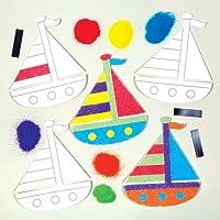 ヨット サンドアート 手作りマグネットキット(6個入り) 子どもたちの簡単手作り、ディスプレイに
