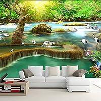 Xueshao カスタム写真の壁紙サンシャインフォレスト滝クレーン自然風景大壁画リビングルームソファテレビ背景壁絵画-250X175Cm