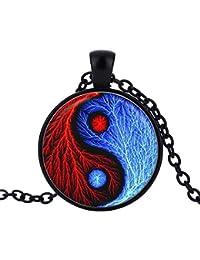 GuDeKe ラウンド型 赤青 陰陽太極図 八卦 ガラス ペンダント ネックレス (ブラック)