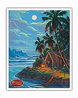 古代ハワイ - 海洋汽船会社 - ビンテージなハワイの旅行のポスター によって作成された リック・シャープ - アートポスター - 41cm x 51cm