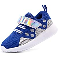 EIGHT KM Boys and Girls Toddler Kids EKM7021 Lightweight Breathable Fly Knitted Sparkly Designer Trainers School Shoes