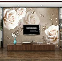 Lcymt カスタムステッカー壁画壁紙ホワイトローズフラワーリビングルームの寝室のテレビの背景写真の壁紙家の装飾3D-120X100Cm