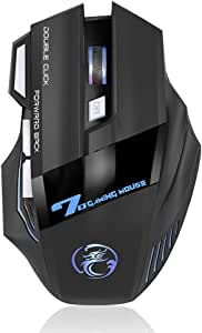 ゲーミングマウス ReacolRGB光学式 usb 有線 マウス LEDライト 高精度ターゲティング 4段調節可能DPI 7ボタン 両利き使用対応 手首の痛みを予防 LOL/PUBG/荒野行動対応(黒)