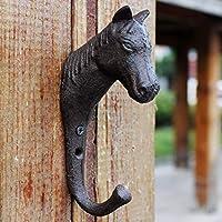 LRW ヨーロッパフック、アンティーク鋳鉄フック、コートフック、ホースヘッドフック、壁掛け装飾。