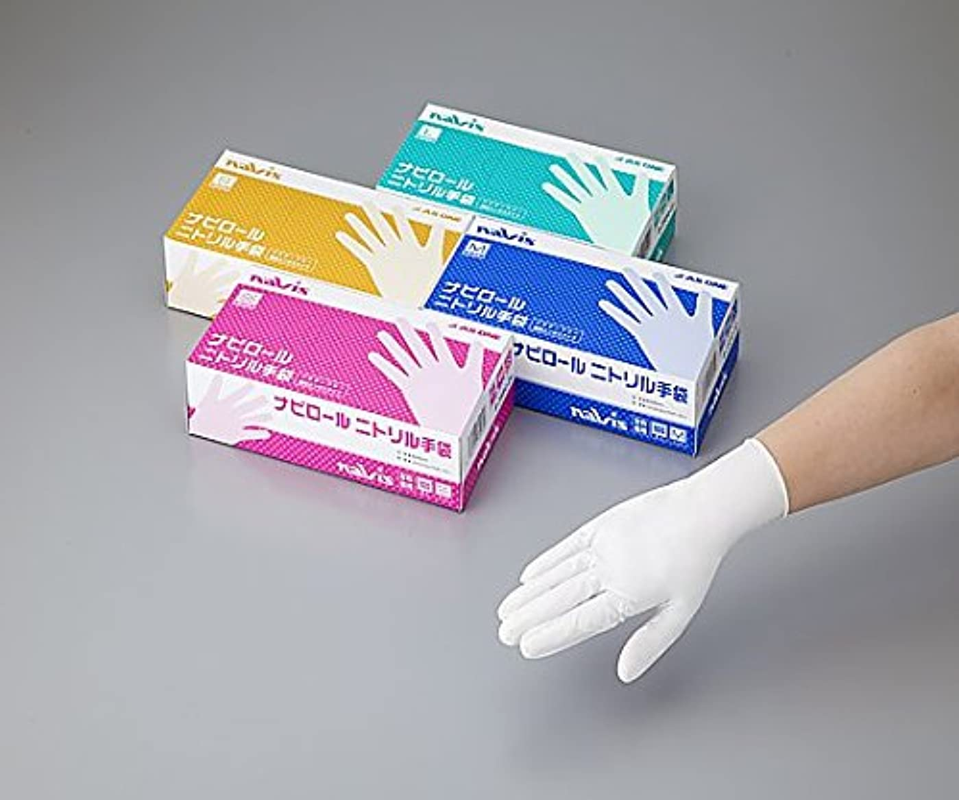 横向き契約したアレルギー性ナビス(アズワン)8-2584-02ナビロールニトリル手袋ホワイトM