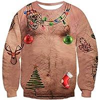Women Men Ugly Christmas Sweater Novelty 3D Graphic Long Sleeve Unisex Xmas Sweatshirt Size S-3XL