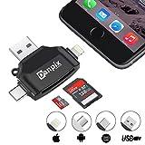 SDカードリーダー、TFカードリーダー& USB Cカードリーダーメモリカードカメラリーダーアダプタfor iPhone iPad Galaxy s8 Android Apple Mac、with Lightning Micro USB 3.0 Connector- ブラック