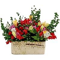 Gracefulvara Multicolor Flower Bush With Wood Pot for 1/12 Dollhouse Miniature