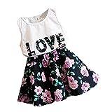 【ノーブランド 品】上下セット 子供 赤ちゃん 女の子 衣装 花柄 Tシャツ スカート ドレス 服 トップ 全5サイズ - 140