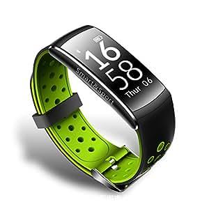 スマートウオッチ スマートブレスレット 活動量計 スポーツ腕時計 血圧計 歩数計 睡眠検測 心拍計 カロリー計算 距離計算 超防水 ios/android対応 着信電話 多機能 (グリーン)