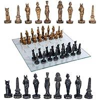 Egyptian Deities Pharaoh King Tut & Nefertiti Resin Chess Pieces With Glass Board Set [並行輸入品]