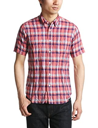 Short Sleeve Linen Cotton Madras Buttondown Shirt 1216-149-0831: Red