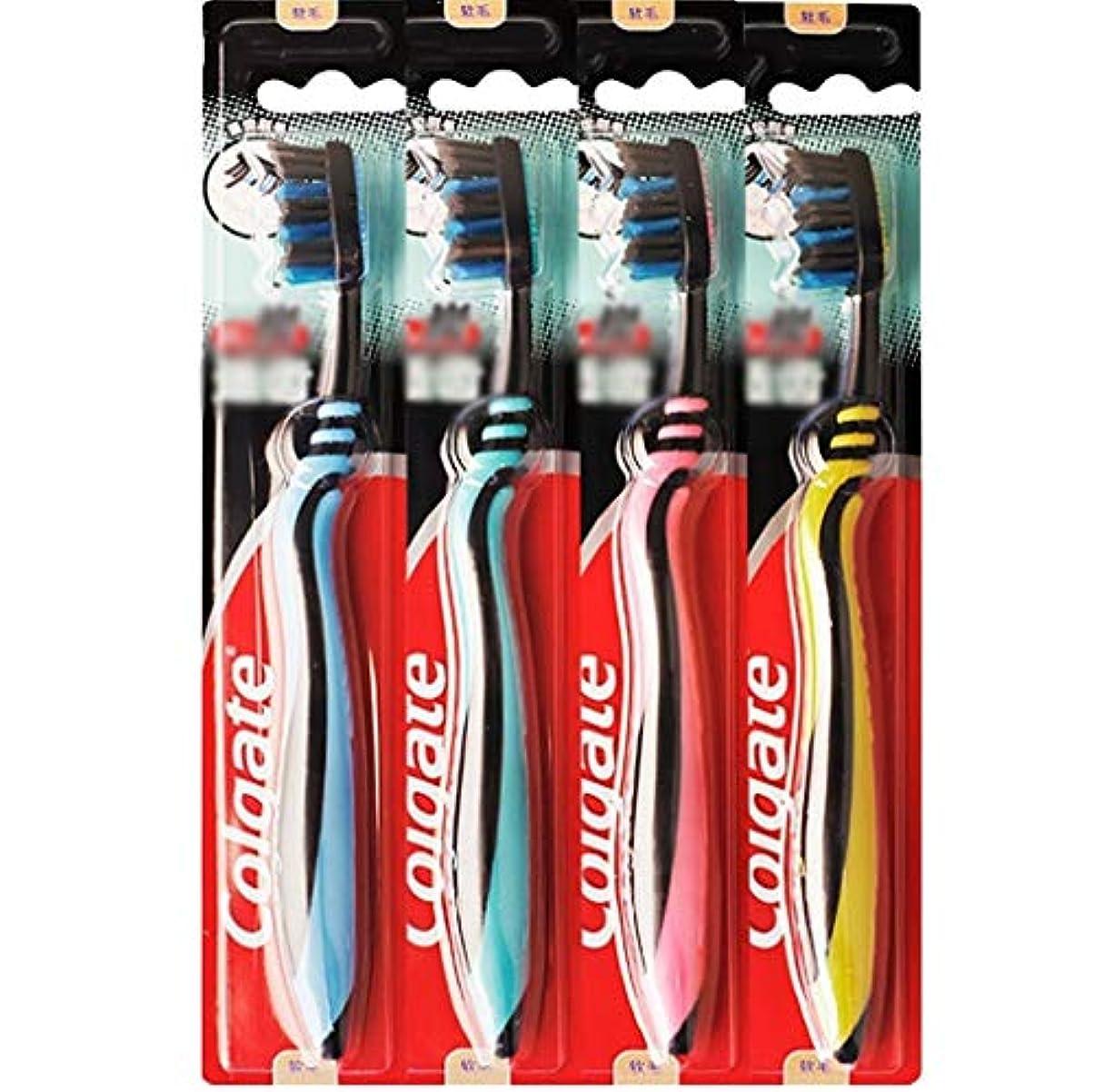 レギュラーモック非アクティブ歯ブラシ 歯の深いクリーニングに適した歯ブラシ、カーボンブラック柔らかい歯ブラシ、4本のスティック HL (色 : A)