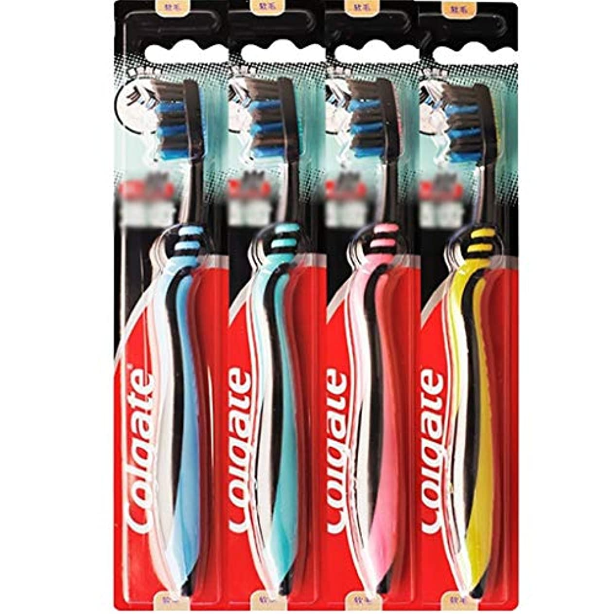 立場大砲パンダ歯ブラシ 歯の深いクリーニングに適した歯ブラシ、カーボンブラック柔らかい歯ブラシ、4本のスティック HL (色 : A)