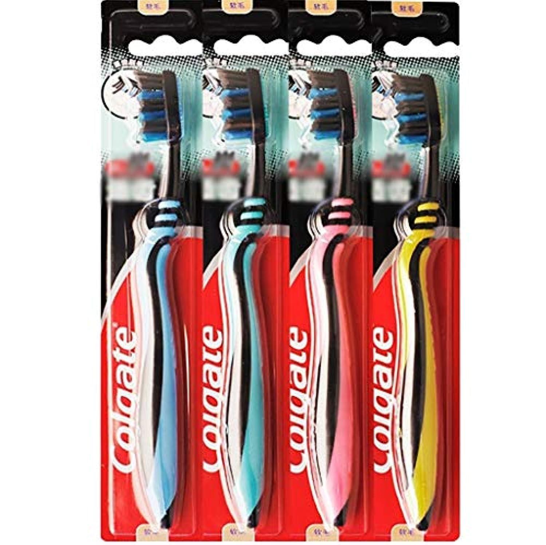 太陽光の塩歯ブラシ 歯の深いクリーニングに適した歯ブラシ、カーボンブラック柔らかい歯ブラシ、4本のスティック HL (色 : A)