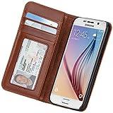 【ハンドクラフト 本革レザー】 Case-Mate 日本正規品 docomo Galaxy S6 SC-05G Wallet Folio Case, Brown ウォレット フォリオ ケース 【複数のカードや紙幣が収納できる】 手帳型 ブックタイプ ケース, ブラウン CM032335