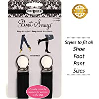 """Proudly Made in USA: Boot Clips, Boot Straps Stirrups -2 Pack Value Boot Snugs Boot Straps Pant Clips for Smooth Jeans in Boots (2-Pack 3"""" and 5"""" Black)"""