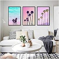 美しいヘブンリーキャンバスポスター印刷画像ヤシの木旅行写真家の壁アート落書きモダンな部屋の装飾/ 50x70cmx3個(フレームなし)