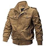 [KEFITEVD] ミリタリー ジャケット 暖かい ジャンパー 秋服 コート 防寒 ブルゾン 立て襟 ライダース コットン カーキ M