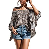 Hibluco Women's Sexy Long Sleeve Off Shoulder Tops Floral Crop Tops