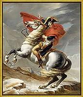 フレーム Jacques Louis David ジクレープリント キャンバス 印刷 複製画 絵画 ポスター(アルプスを渡るナポレオン)