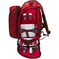 ALLCAMP Picnic Backpack Bag for 2 Person with Cooler Compartment, Detachable Bottle/Wine Holder, Fleece Blanket, Plates and Cutlery (red)