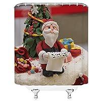 家具の装飾クリスマスハッピーシャワーカーテン、サンタクロースレッドハット古いシャワーカーテンセットクリスマスツリーデコレーションシャワーカーテン裏地は防水ではありません 165X180 CM