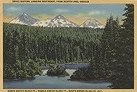 Scotts湖、オレゴン州–ビューの3つの姉妹山 9 x 12 Art Print LANT-7652-9x12