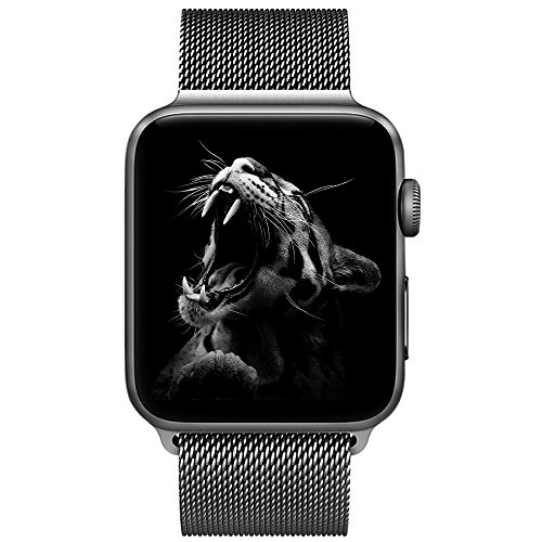 BRG コンパチブル apple watch バンド,ミラネーゼループ コンパチブルアップルウォッチバンド ステンレス留め金製 アップルウォッチ4 コンパチブル apple watch series4/3/2/1に対応(38mm/40mm,スペースグレー)