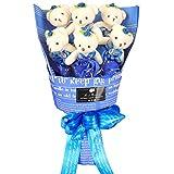 YOBANSA ソープフラワー 石鹸 花 バラ 造花 花束くま束 ベア ブーケ 可愛いぬいぐるみ (ベア6匹,花5匹) 父の日 誕生日 結婚祝い 結婚記念日のプレゼントにお勧め (シフォンブルー)