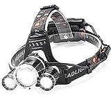 YIEASY 3灯式 ヘッドライト LEDヘッドランプ アウトドアライト 4モード 防水軽量 高輝度 角度調節可能 充電式/電池/USBケーブル付属 ハイキング/夜釣り/作業/自転車/キャンプに最適