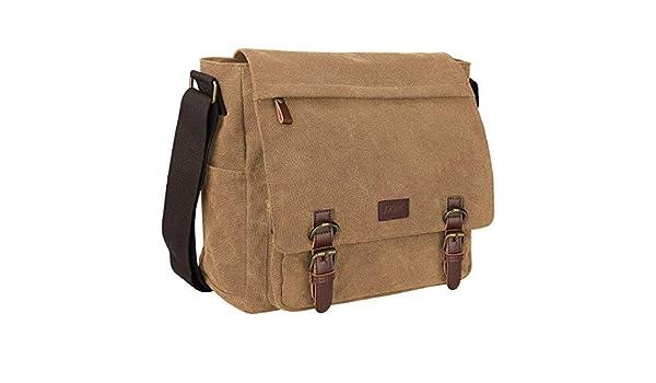 6a1e5ba1cb S-ZONE Vintage Canvas Messenger Bag School Shoulder Bag for 13.3-15inch  Laptop Business Briefcase S-ZONE D04V829B