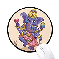 仏教の宗教は仏教の象のロータス ラウンド・ノンスリップ・マウスパッド・ブラックtitched端ゲームオフィス贈り物