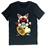 デレス メンズ シャツ Lucky Cat ラッキー 猫 Pizza T 綿 レジャー Black