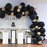 Beaumode DIY ブラック&ゴールド バルーン ガーランドキット 163個 ブラックバルーン アーチガーランド バナー 男の子 誕生日 バチェロレッテ 結婚式の装飾 写真ブース背景 ブライダルシャワー ベビーシャワー 誕生日パーティー 記念日パーティー装飾