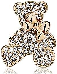 キラキラ 金の リボンが かわいい テディベア ブローチ