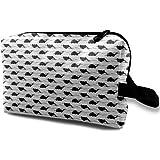 化粧ポーチ コンパクトサイズ,白いBackground_3795、オックスフォードの布の多彩な袋の小型旅行の黒いオフセットパターンのCH53ヘリコプター