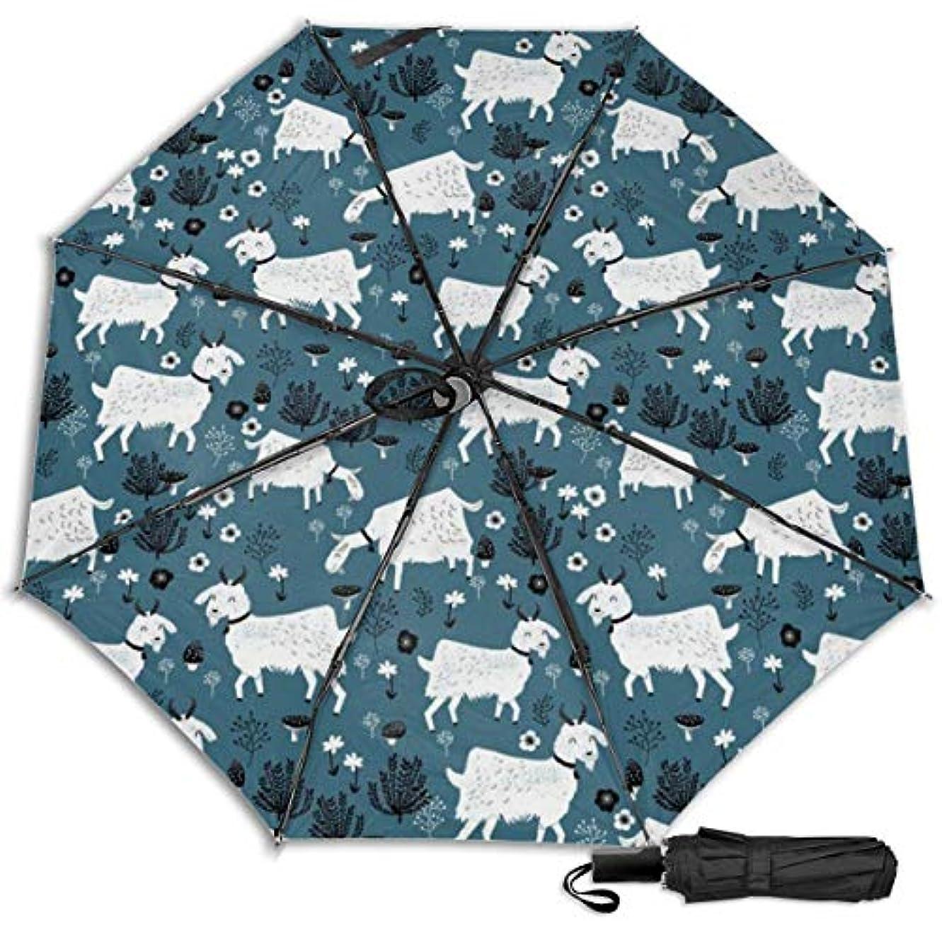 たらいエッセンス発疹ヤギの赤ちゃん農場の動物日傘 折りたたみ日傘 折り畳み日傘 超軽量 遮光率100% UVカット率99.9% UPF50+ 紫外線対策 遮熱効果 晴雨兼用 携帯便利 耐風撥水 手動 男女兼用
