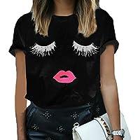 Womens Summer Shirts Short Sleeve Blouse Loose Tops Ladies Eyelash Printing T Shirt