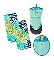 (Turquoise) - 4 Piece Fiesta Kitchen Set - 2 Calypso Terry Towels, Puppet Oven Mitt, Oval Pocket Mitt (Turquoise)