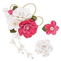 (ソウビエン) 髪飾り 3点セット 白 ホワイト ピンク 椿 蕾 ベルベット 藤下がり ブラ コーム Uピン