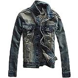 (スプリングスワロー) SpSw メンズ ダメージ カジュアル ジャケット ブルー デニム シャツ アウター ユーズド感 シンプル デザイン (L)