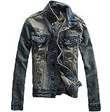 (スプリングスワロー) SpSw メンズ ダメージ カジュアル ジャケット ブルー デニム 長袖 ウォッシュ 加工 フィールドジャケット (2XL)