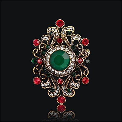 [해외]노 명품 빈티지 보석 보석 라인 스톤 브로치 핀 그린 도금 다색 4 종/No brand item vintage jewelry jewelry rhinestone brooch pin green plating 4 multicolor
