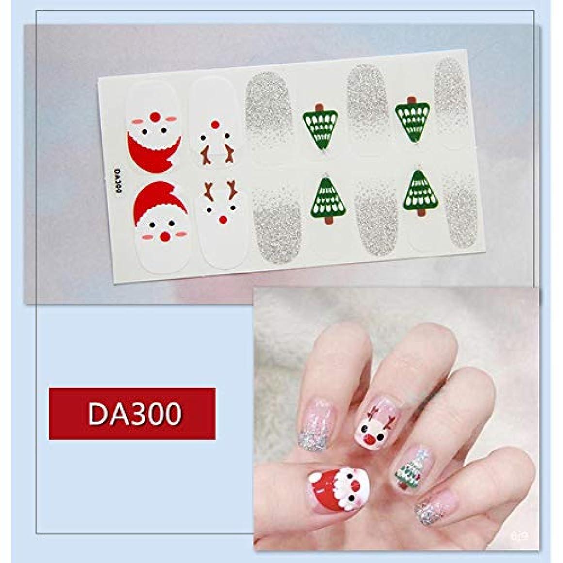 そこあいさつ研磨剤Murakush ネイルステッカー ネイルアート 14ピース/セット クリスマス 雪だるま クリスマスツリー 防水 デカール DA300