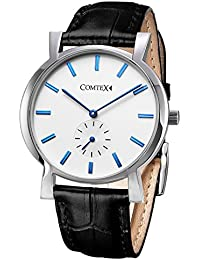 COMTEX 腕時計 ブルー クロノグラフ機能 本革 青い ウォッチ クオーツ 時計 メンズ