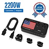 Professional 2200W Voltage Converter, All-in-One Travel Converter Step Down 220v to 110v with Power 10A Dual Adapter 4-Port USB UK/US/AU/EU International Plug Converters Over 200 Countries (Black)
